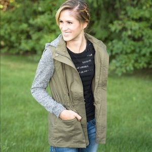 Olive Green and Gray Hoodie Utility Jacket